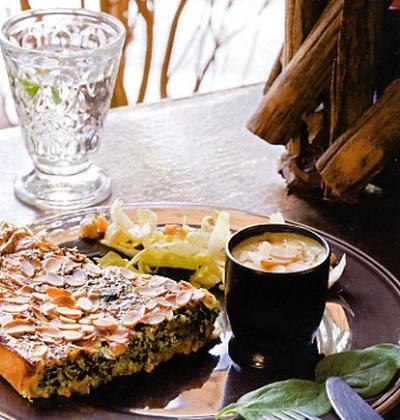 Quiche aux épinards et Saint-Jacques velouté de courgettes - Photo par meynad