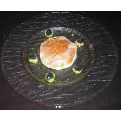Eventail de Hareng fumé, pomme de terre écrasées et crème aigrelette - Photo par 750g