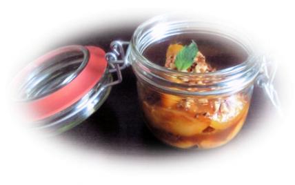Pêches caramélisées au miel et aux amandes - Photo par celinebo
