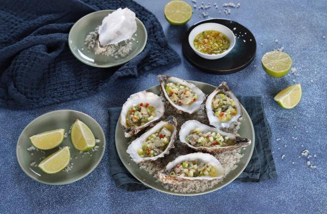 Ceviche d'huîtres au gingembre, pomme Granny et citron vert - Photo par Silvia Santucci