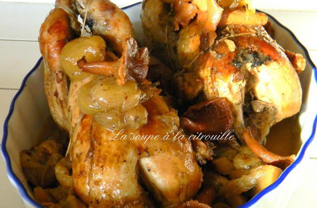 Perdrix aux raisins et aux champignons des bois - Photo par La soupe à la citrouille