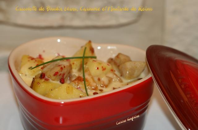 Cassolette de boudin blanc au Chaource et à la moutarde de Reims - Photo par linoue