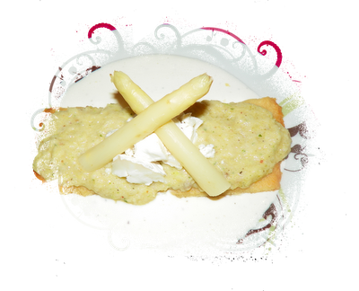 Velouté d'asperges, sablé au parmesan, sauce ricotta - Photo par lafeecn