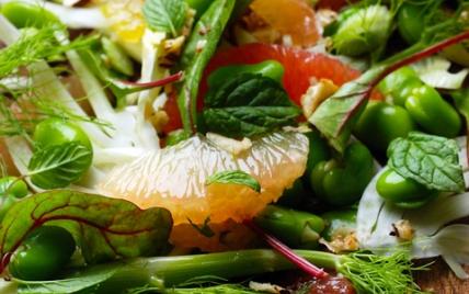 """Salade multicolore aux fèves, à l""""orange et au pamplemousse - Photo par dorian_nieto"""