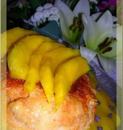 Flan coco et coulis de mangue - Photo par Lapin cuisinier