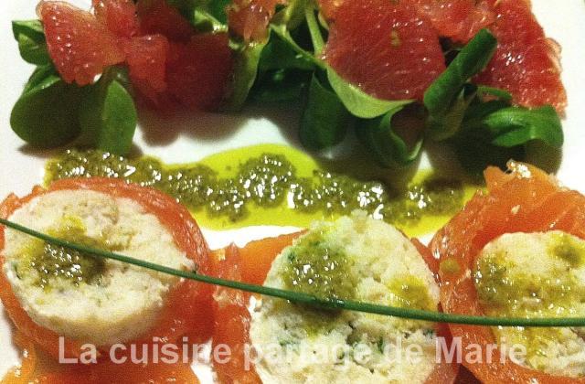 Mousseline de Cabillaud au saumon fumé et son pesto de mâche - Photo par marierechou