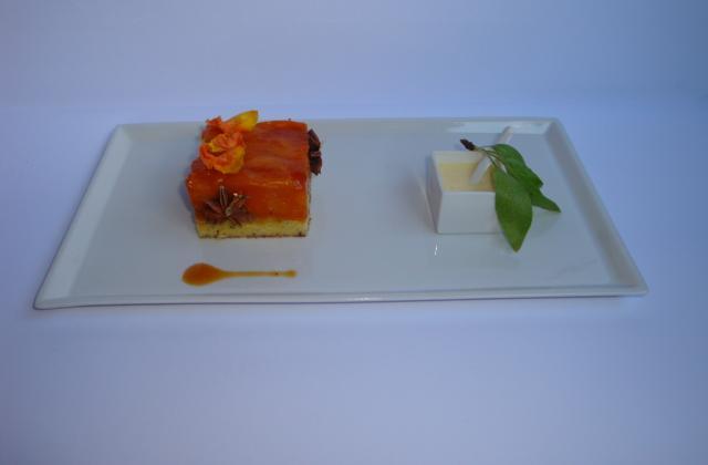 Comme une Tatin....abricots, cannelle, thé noir pain d'épices, et crème anglaise à l'amande fraîche - Photo par Sandrine Baumann