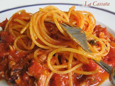 Spaghetti au ragoût de petits calmars - Photo par M.Sonia