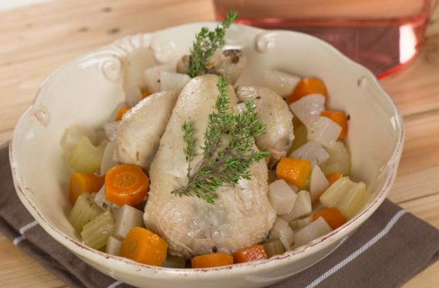 Mini-poule au pot minute, légumes, riz et gingembre - Photo par Chef Christophe