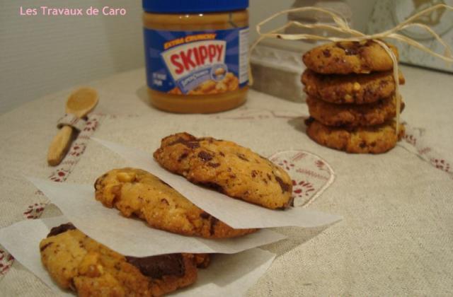 Cookies beurre de cacahuètes et chocolat noir - Photo par les travaux de caro
