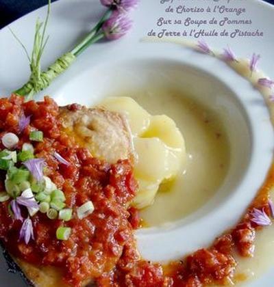Espadon en confit de chorizo sur soupe de pommes de terre à l'huile de pistache - Photo par fabienra
