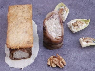 Endives au jambon farcies de risotto au roquefort , tuiles aux  noix avec une sauce au roquefort - Photo par jfonta3