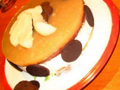 Bavarois poires-chocolat sur lit d'amandes - Photo par la cuisine de nounouille