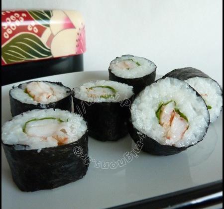 Sushi de crevettes pimentées et roquette - Photo par mopech