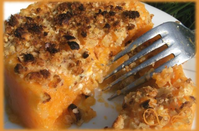 Crumble au Roquefort sur purée de courge roquefortée - Photo par Blog d'Elisa