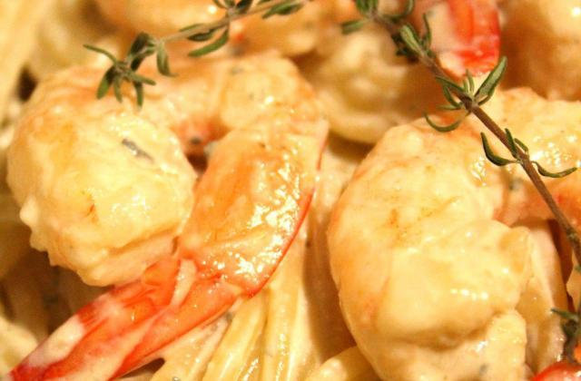 Spaghettis Fourme et crevettes - Photo par 2 filles aux fourneaux
