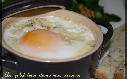 P'tits œufs cocotte au chou-fleur et au Morbier en mini cocottes - Photo par Virginie92