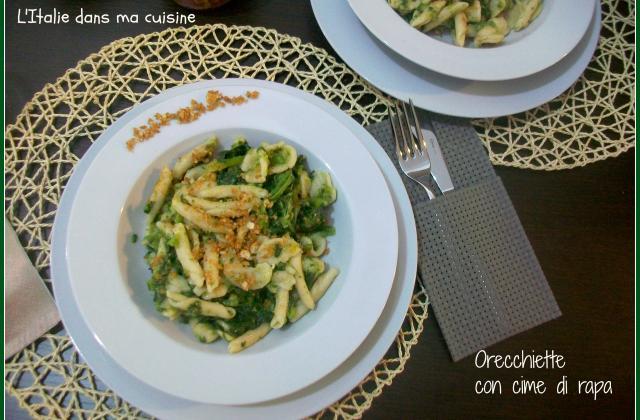 Orecchiette aux pousses de navet, plat typique des Pouilles - Photo par L'Italie dans ma cuisine