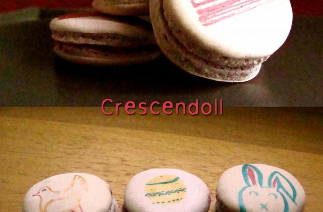 Macarons décorés de Pâques à la framboise et au chocolat blanc - Photo par crescendoll