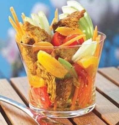 Emincé de dinde au curry en salade acidulée du sud - Photo par 750g