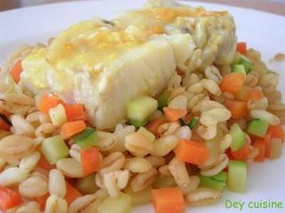 Filets de colin à l'orange & blé aux petits légumes - Photo par audrey87
