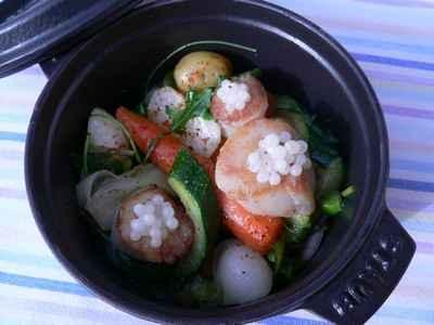 Cocotte de légumes, Saint-Jacques et caviar d'escargot - Photo par Chef Damien
