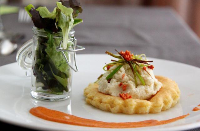 Mousse d'artichaut en tartelette et crème de chorizo - Photo par BlogGourmandine