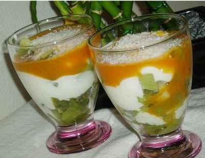 Verrines kiwis-mascarpone et coulis de mangue - Photo par newelm