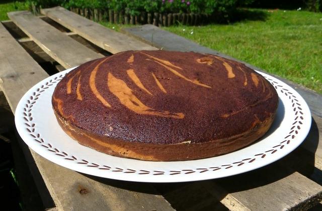 Zebra cake à la vanille, Amaretto, chocolat et orange confite - Photo par Rosenoisettes