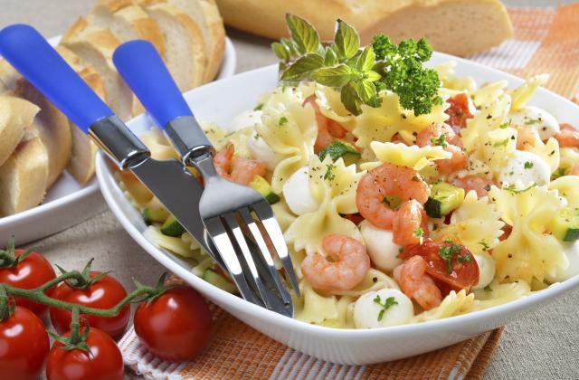 Salade de pâtes courgette, tomate et crevettes - Photo par Chef Christophe