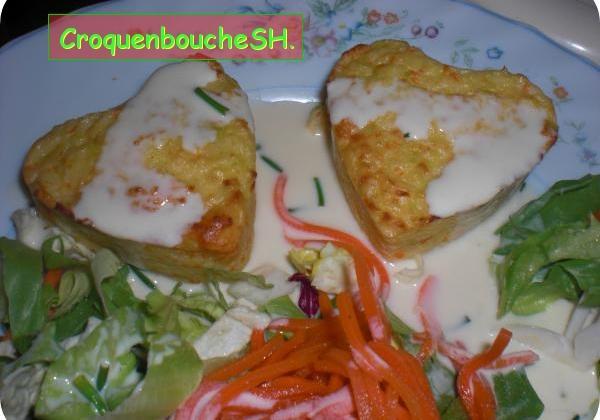 Petits cœurs aux surimi et poireaux, et sa sauce citronnée moutarde - Photo par membre_247110