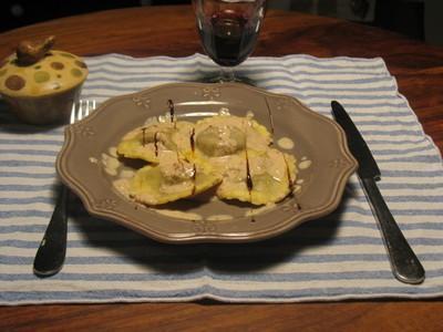 raviolis au foie gras, cèpes et ricotta - Photo par samdom
