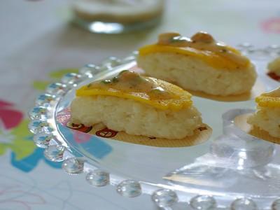 Sushis au riz au lait mangue nougat - Photo par talons