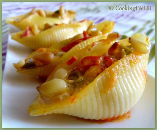 Recette conchiglie aux poivrons brocciu et pignons de for Plat convivial pour 6 personnes