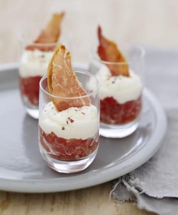recette verrines de concass de tomates au fromage carr frais et chips de jambon 750g. Black Bedroom Furniture Sets. Home Design Ideas