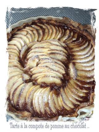 recette tarte la compote de pommes au chocolat not e 4 3 5. Black Bedroom Furniture Sets. Home Design Ideas