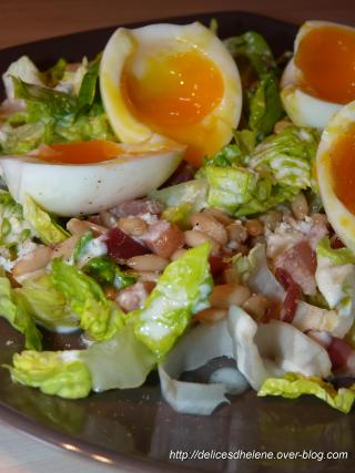 recette salade aux oeufs mollets lardons sauce la fourme d 39 ambert 750g. Black Bedroom Furniture Sets. Home Design Ideas