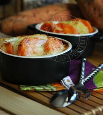 recette gratin fondant aux 3 p patate douce pomme de terre pomme fruit 750g. Black Bedroom Furniture Sets. Home Design Ideas