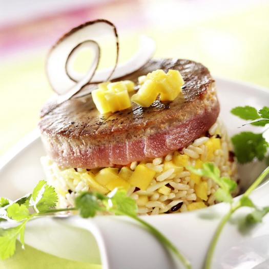 recette mi cuit de steak de thon aux fruits exotiques et coco 750g. Black Bedroom Furniture Sets. Home Design Ideas