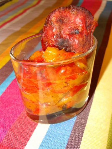 Recette duo de poivrons confits et sa chips de chorizo 750g - Chorizo a griller recette ...