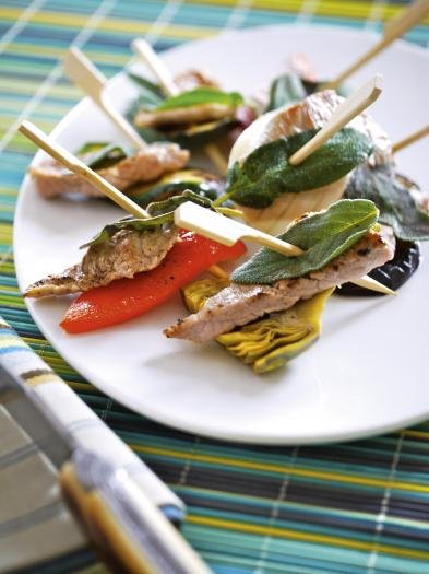 recette brochettes fa on saltimbocca de veau 750g. Black Bedroom Furniture Sets. Home Design Ideas