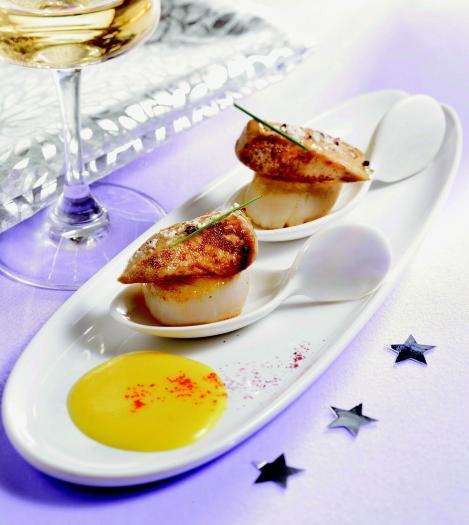 recette po l es de noix de st jacques au foie gras sur cr me de giraumon safran e 750g. Black Bedroom Furniture Sets. Home Design Ideas