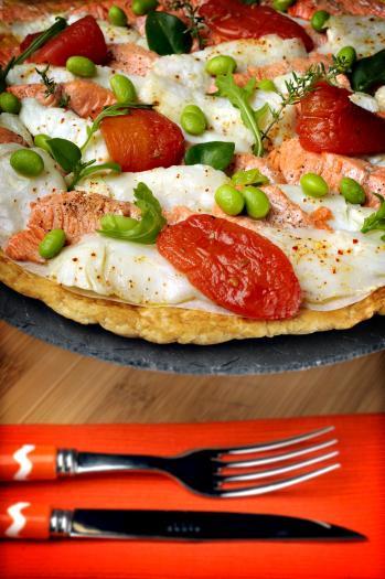 Recette tarte fine de saumon sauvage et cabillaud d - Cuisiner poisson congele ...