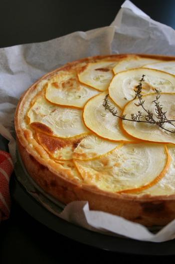recette - quiche à la courgette jaune et au parmesan | notée 4.3/5