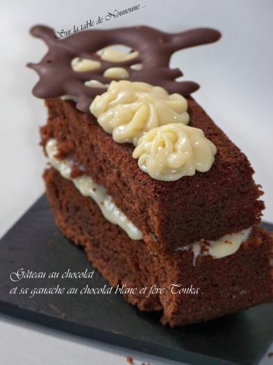 recette - gâteau au chocolat et sa ganache au chocolat blanc et